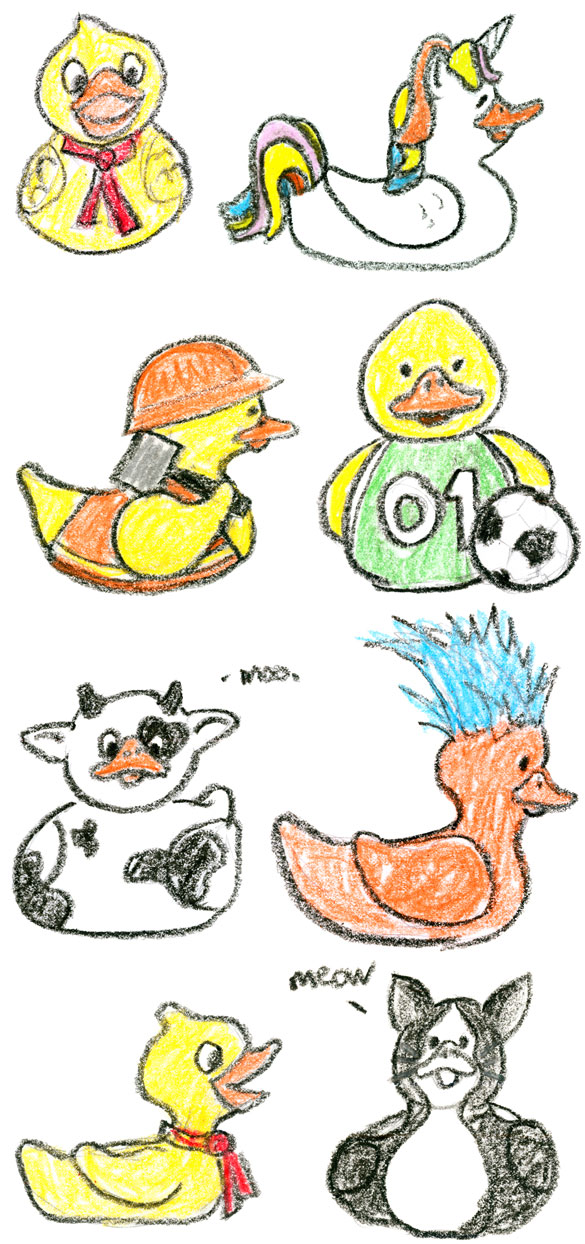 Crayon Duckies, commissioned art by Amy Crook