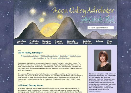 Updated MoonValleyAstrologer.com design by Amy Crook