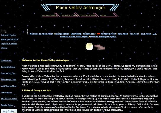 Previous MoonValleyAstrologer.com site design