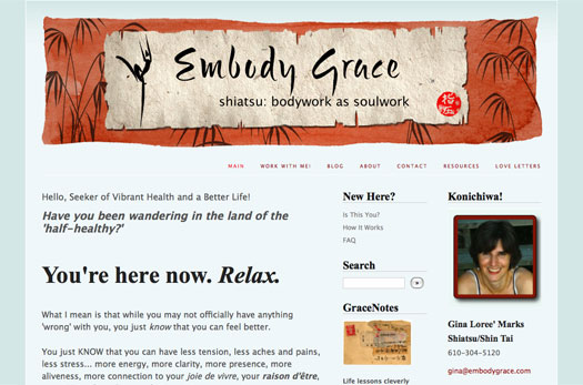 Grace in Gravity site, banner by Amy Crook