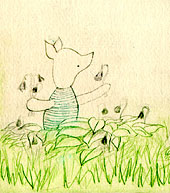 Piglet etching, detail, by Amy Crook