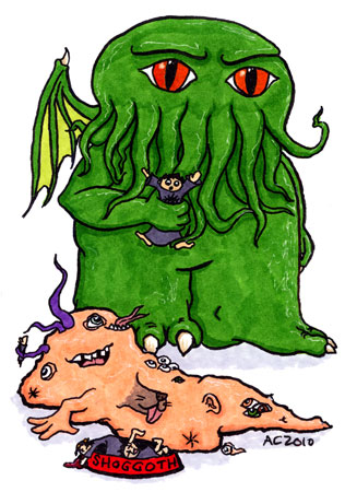 Chibi Cthulhu Feeds His Shoggie by Amy Crook